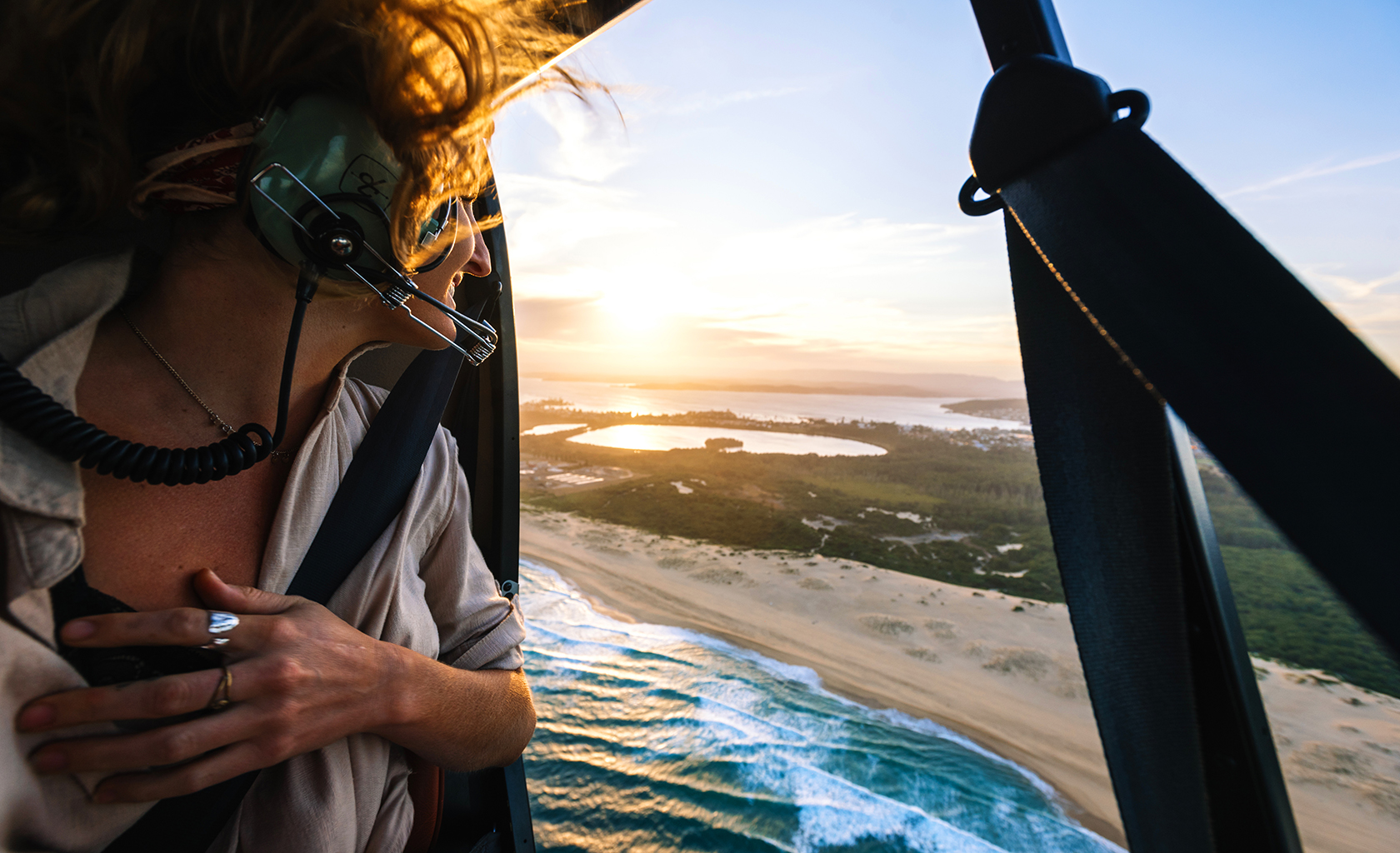 Scenic helicopter flight over Lake Macquarie, NSW
