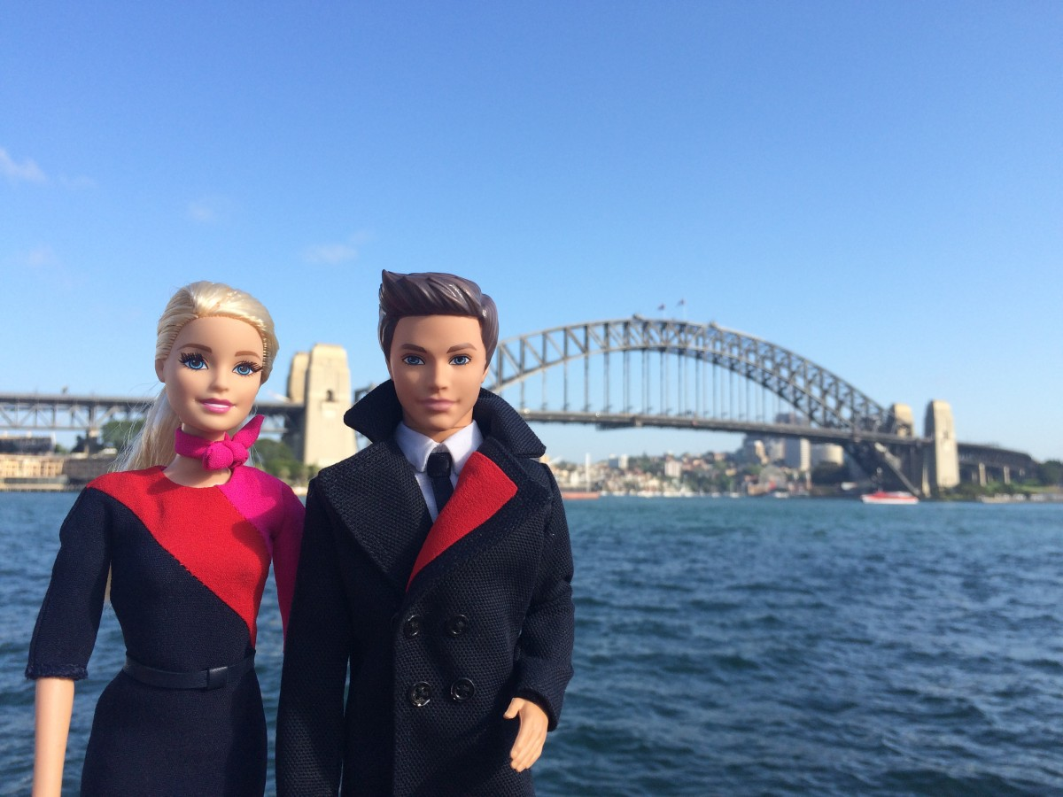 omg barbie ken are modelling 95 years of qantas uniforms awol. Black Bedroom Furniture Sets. Home Design Ideas