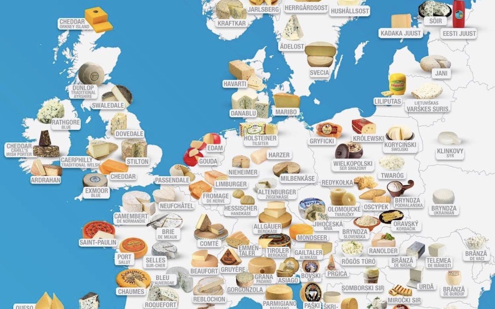 This Interactive Cheese Map Shows The Most Popular Cheese In Europe