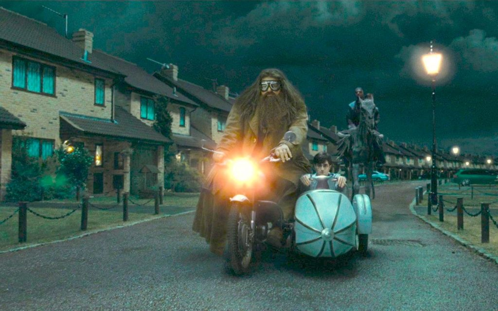 Harry and Hagrid in Hagrid's motorbike in Harry Potter and the Deathly Hallows Part 1 - the inspiration behind the new Harry Potter ride at Universal Studios Orlando.