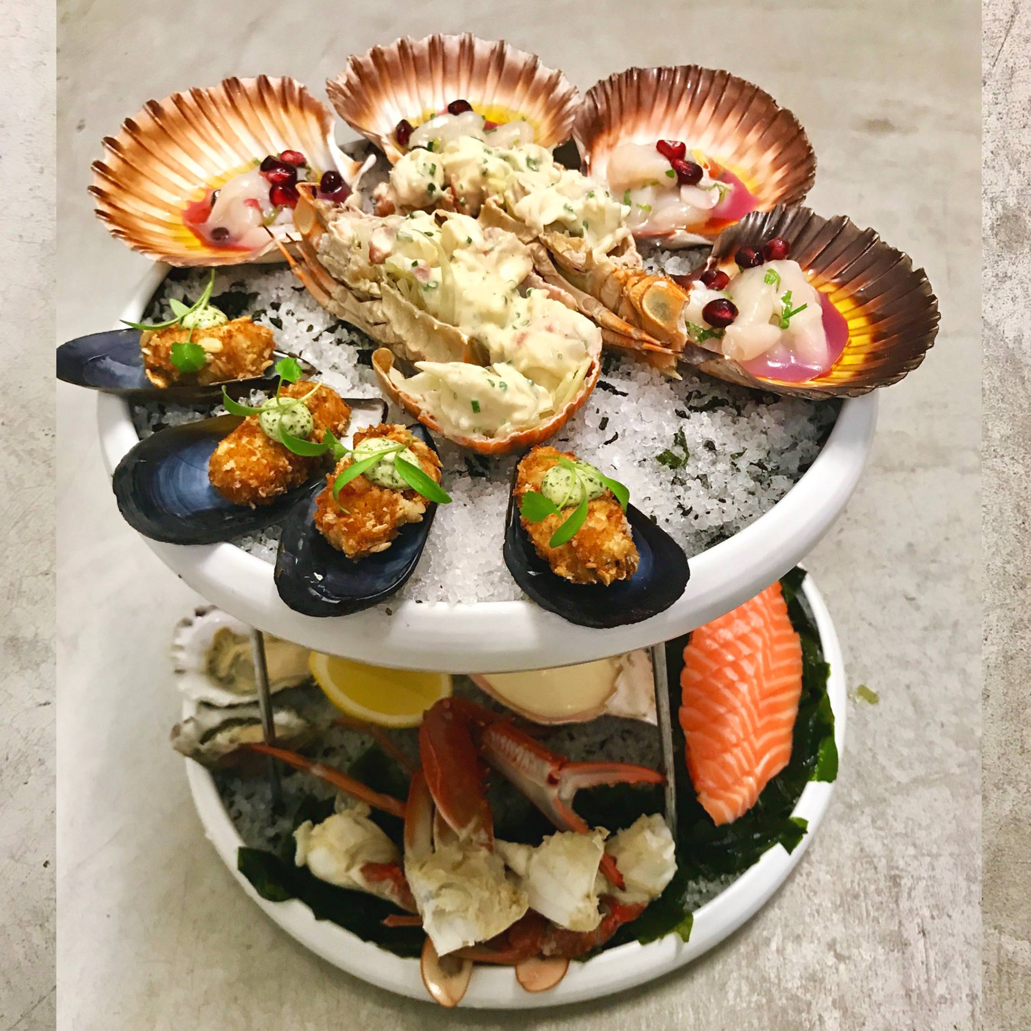 Seafood platter menu item at Cirrus Dining restaurant, Barangaroo