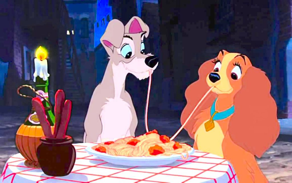 Lady and the Tramp share a plate of spaghetti, the inspiration behind one of the courses at the Disney degustation at restaurant nel.
