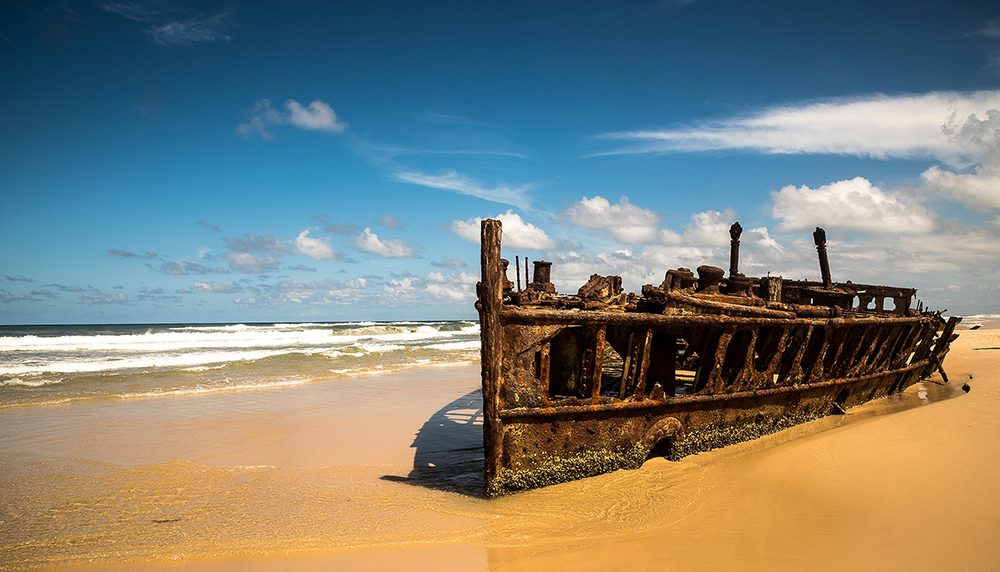 Old shipwreck on Fraser Island beach
